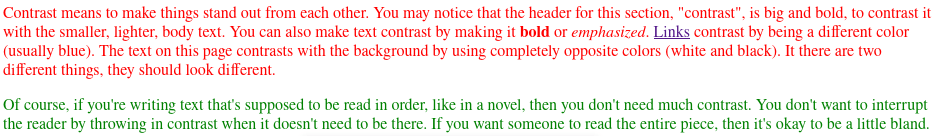 One paragraph in red and another in green is a jarring experience
