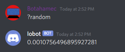 "Typing ""?random"", and the bot replies with a random number"