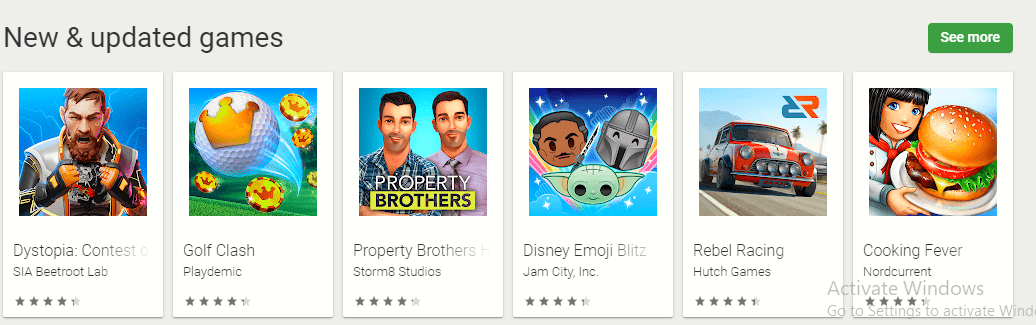 google play store just updated section