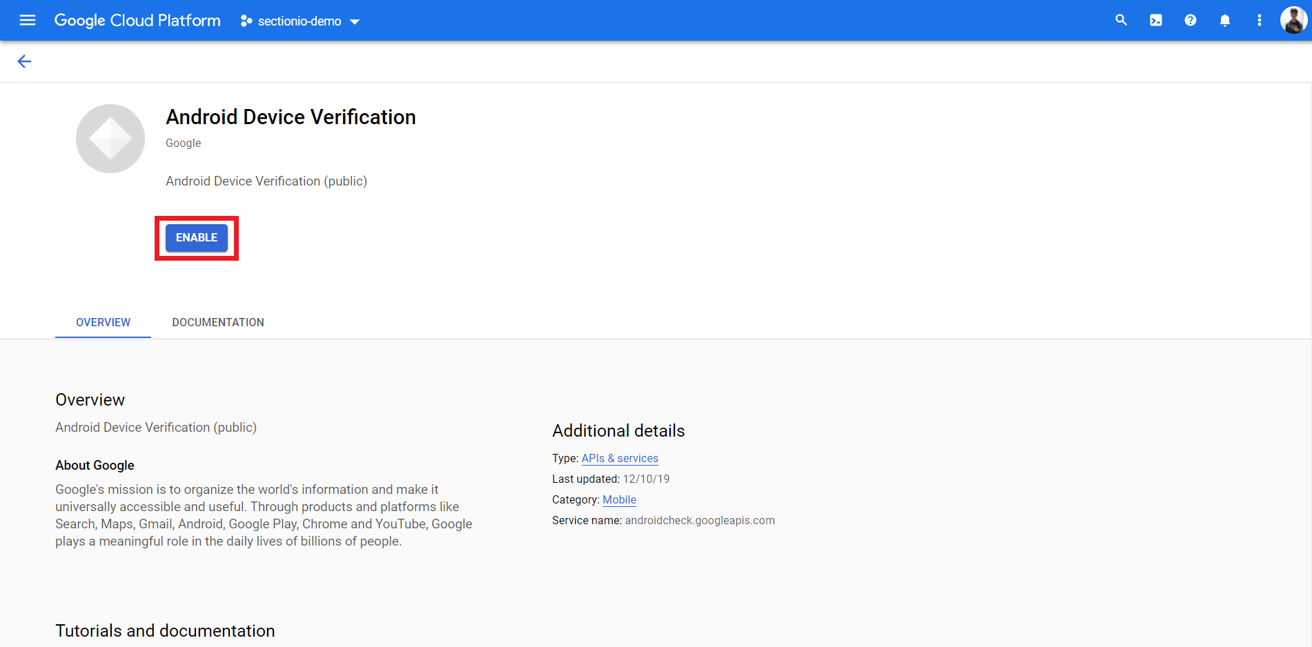 Enable Device Verification API